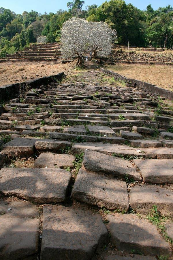 Rovine del tempiale Laos di Wat Phu immagini stock