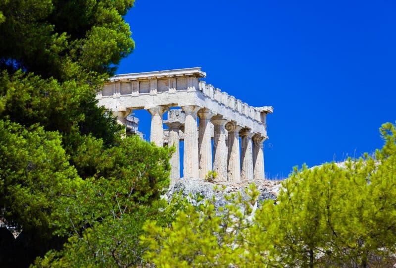 Rovine Del Tempiale Sull Isola Aegina, Grecia Immagini Stock Libere da Diritti