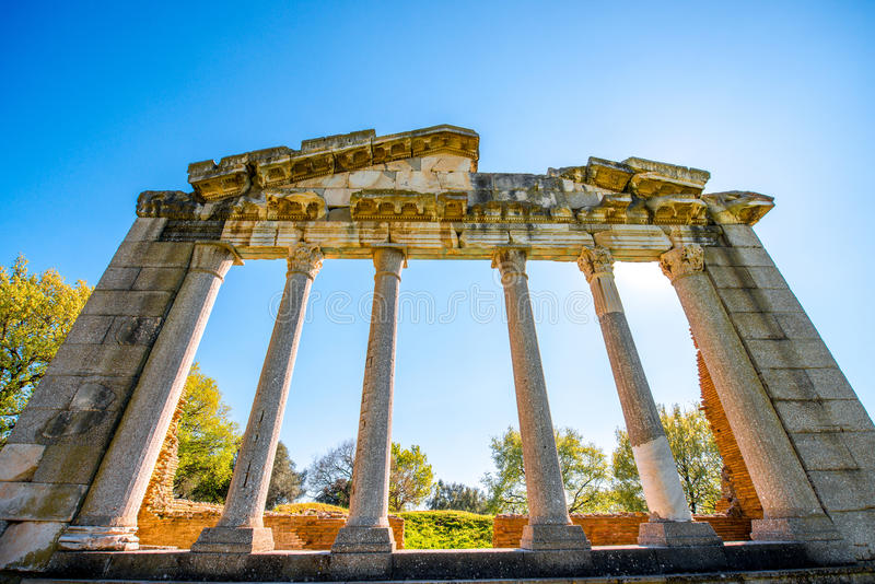 Rovine del tempio in Apollonia antico fotografia stock libera da diritti