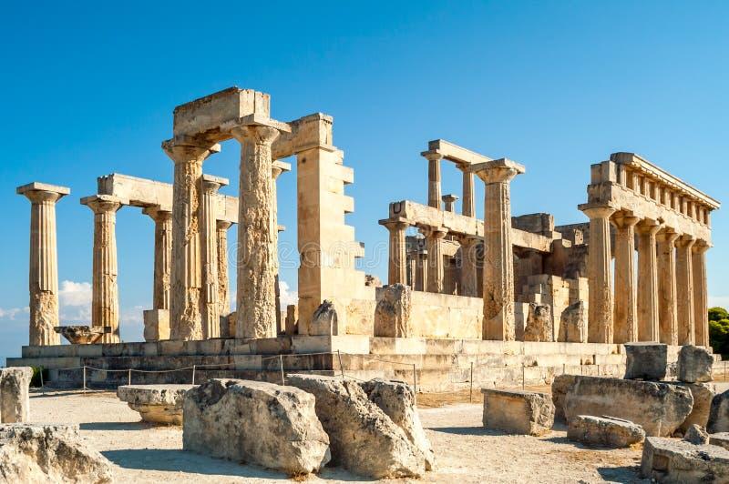 Rovine del tempio di Aigina fotografie stock libere da diritti