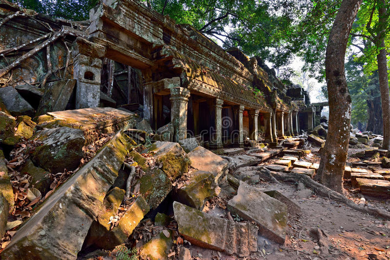 Rovine del tempio di Phrom di tum in Angkor Wat immagine stock libera da diritti