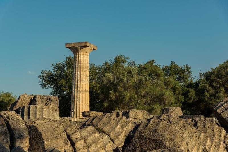 Rovine del tempio di Zeus, Olimpia fotografie stock