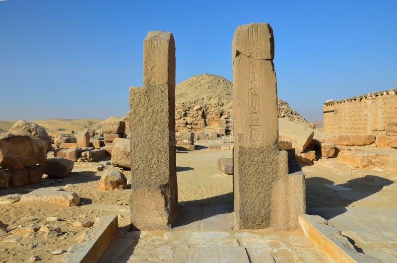Rovine del tempio egiziano, necropoli di Saqqara fotografia stock libera da diritti