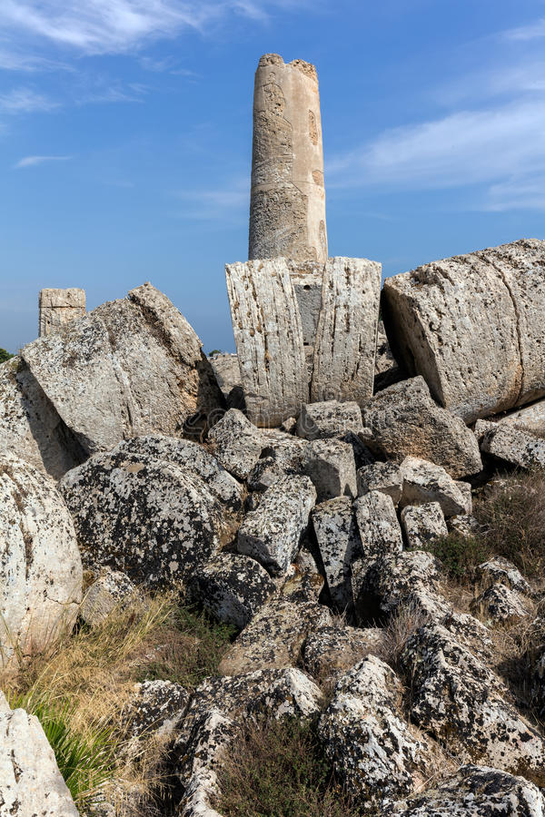 Rovine del tempio G in Selinunte, Sicilia fotografie stock