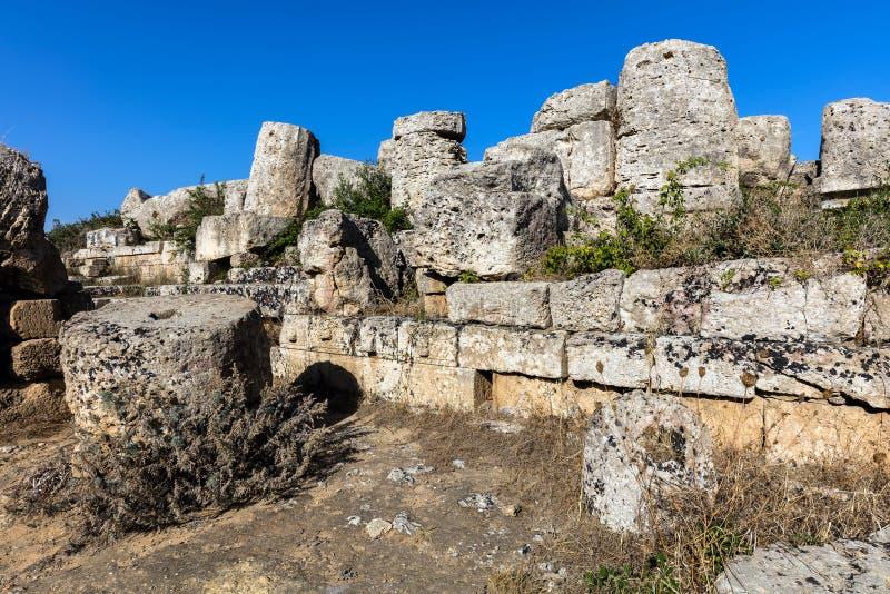Rovine del tempio G in Selinunte, Sicilia fotografia stock