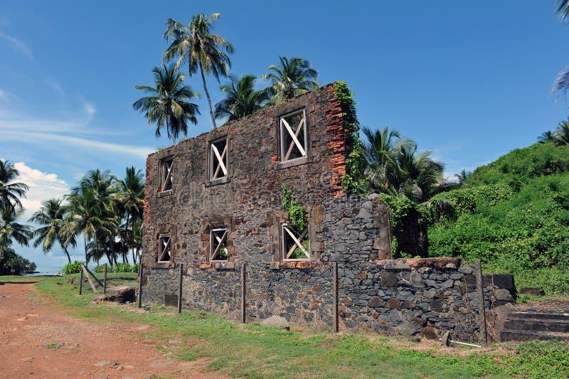Rovine del workshop, isola Royale, Guiana francese fotografia stock libera da diritti