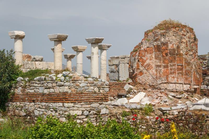 Rovine della basilica di St John, Selcuk fotografia stock