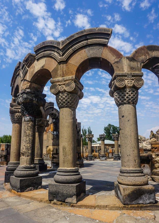 Rovine della cattedrale di Zvartnots fotografia stock