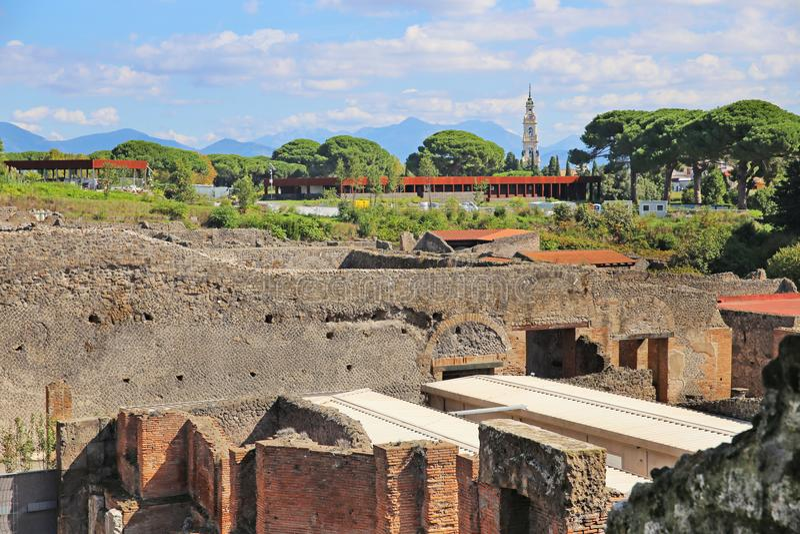 Rovine della città antica Pompeii fotografie stock
