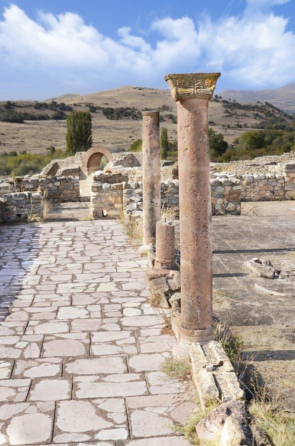 Rovine della città antica, posta di marmo, Macedonia immagine stock