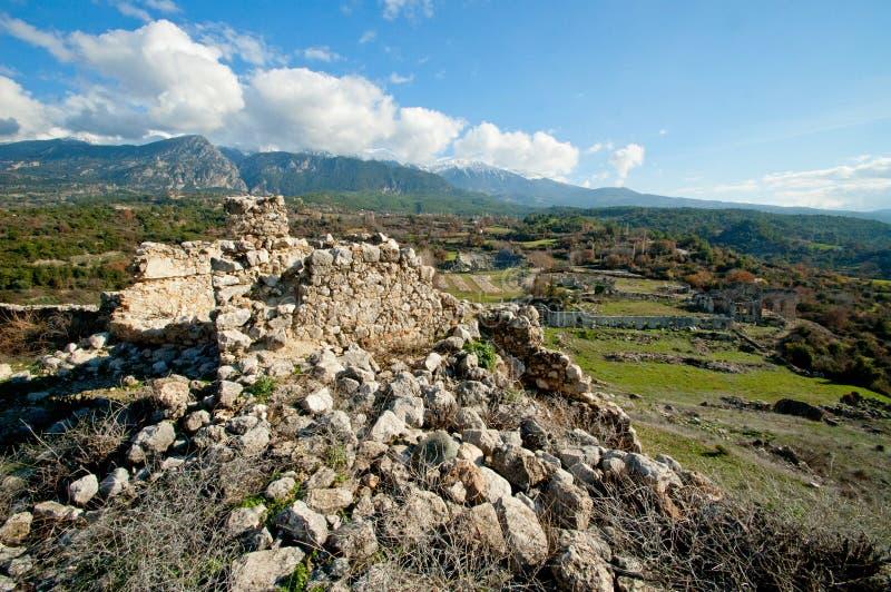 Rovine della città antica sparate un giorno soleggiato luminoso immagine stock