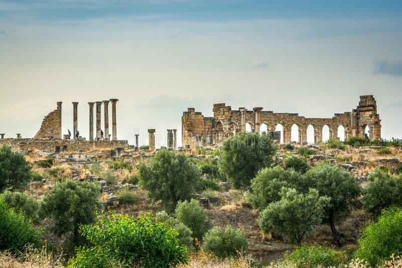 Rovine della città romana di Volubilis, sito del patrimonio mondiale dell'Unesco vicino a Fes e a Meknes, Marocco immagini stock