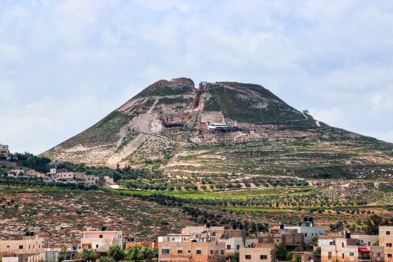 Rovine della fortezza di Herodium Herodion di Herod le grande, deserto di Judaean vicino a Gerusalemme, Israele fotografia stock