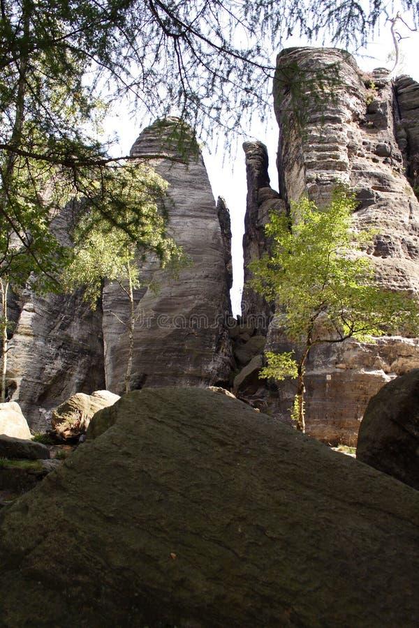 Rovine della montagna della roccia con alcuni alberi intorno fotografia stock