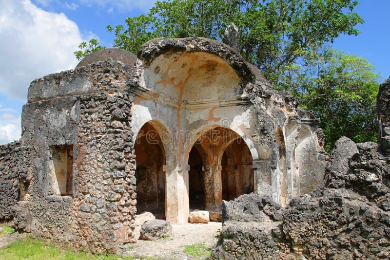 Rovine della moschea sull'isola di Kilwa Kisiwani, Tanzania immagine stock libera da diritti