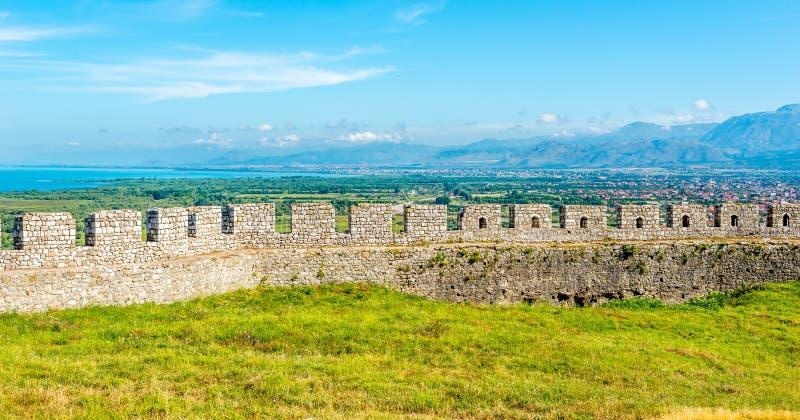 Rovine della parete del castello di Rozafa fotografia stock libera da diritti