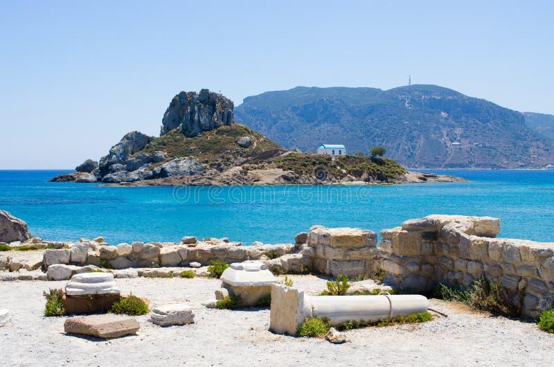 Rovine della spiaggia di Kefalos sull'isola di Kos, Grecia fotografie stock