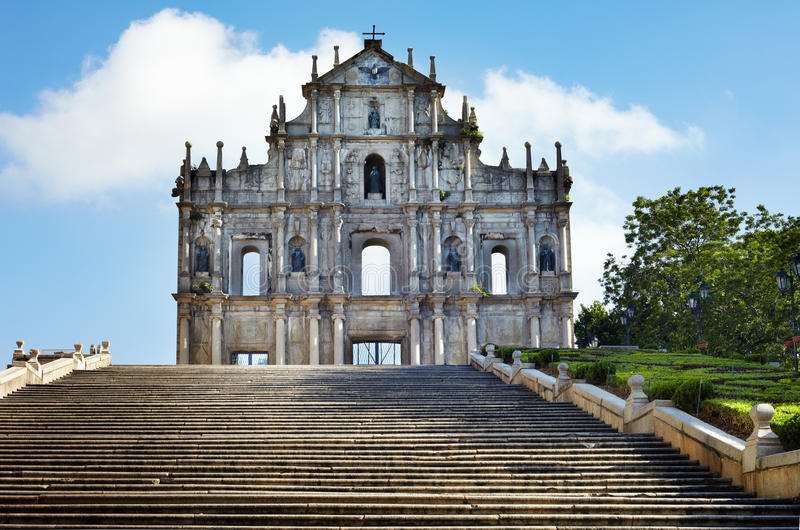 Rovine della st Paul, chiesa iconica a Macau, mento immagini stock libere da diritti