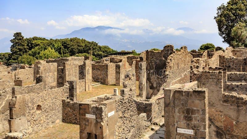 Rovine delle costruzioni a Pompei, Italia fotografie stock libere da diritti