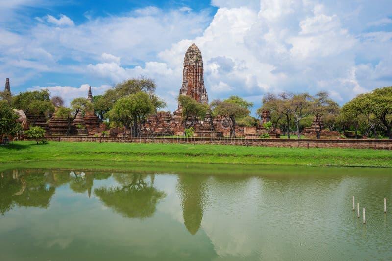 Rovine delle statue di Buddha e della pagoda di Wat Phra Ram a Ayutthaya immagine stock