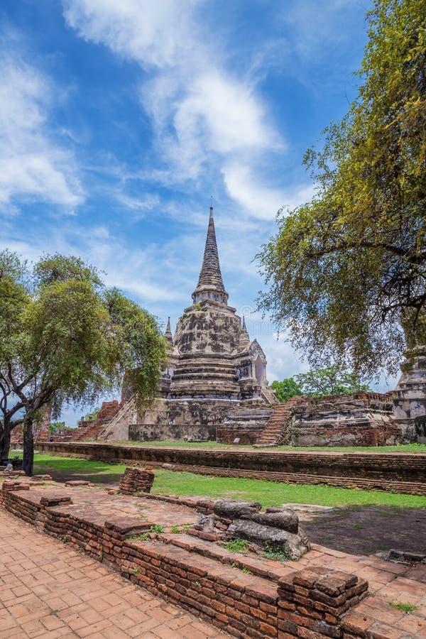 Rovine delle statue di Buddha e della pagoda di Wat Phra Si Sanphet in ayu fotografia stock libera da diritti