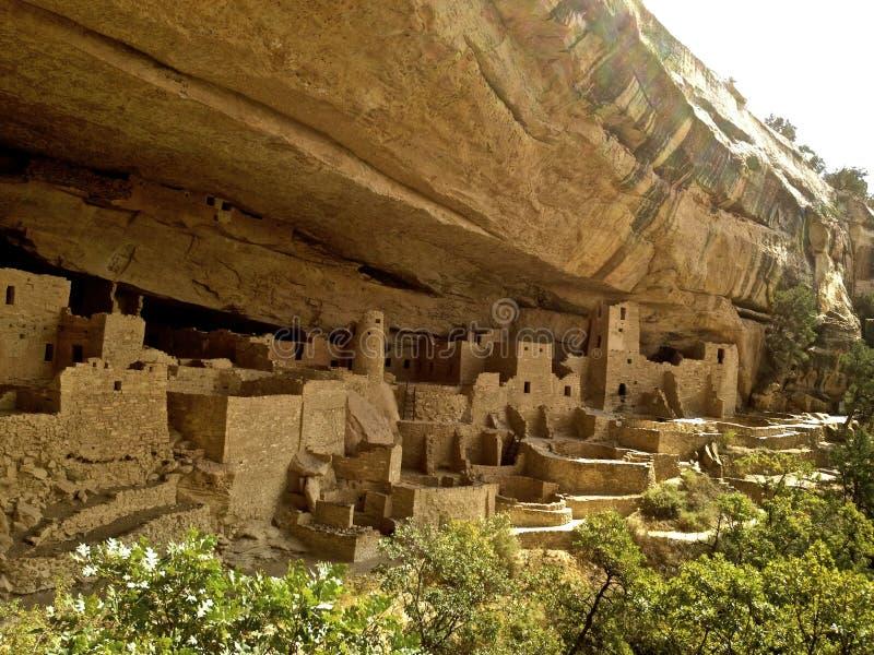 Rovine di Cliff Palace a Mesa Verde fotografia stock libera da diritti