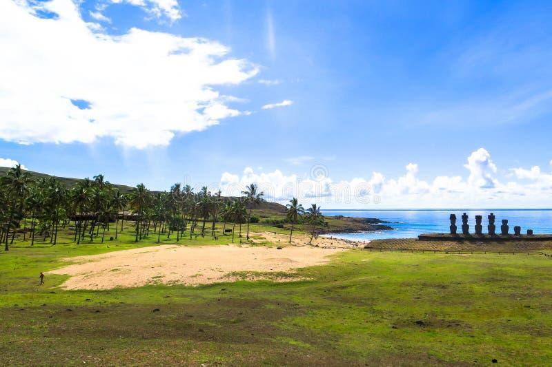 Rovine di Moai nell'isola di pasqua, Cile immagine stock