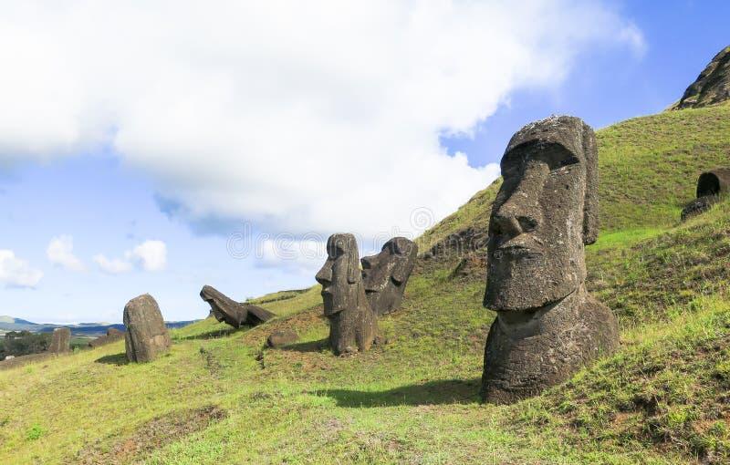 Rovine di Moai nell'isola di pasqua, Cile fotografie stock libere da diritti
