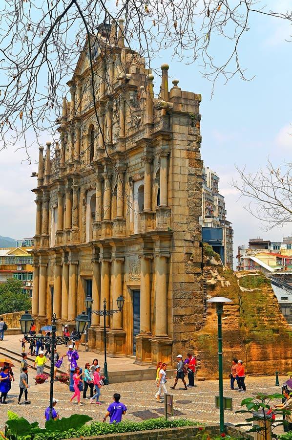 Rovine di st.paul, Macao fotografia stock