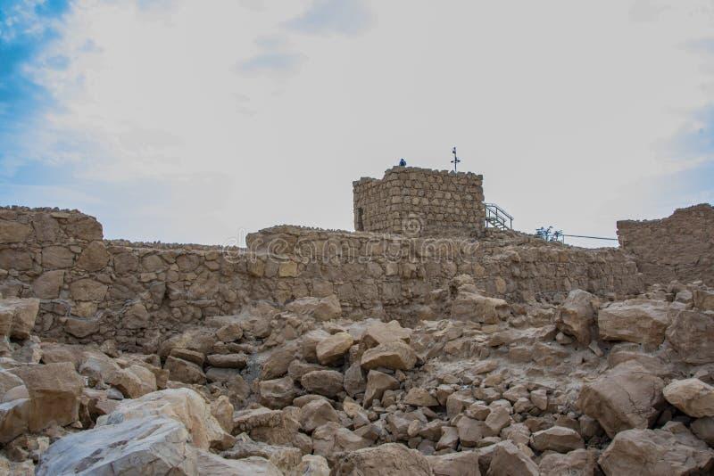 Rovine di vecchia fortezza di masada immagine stock