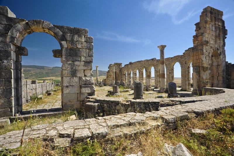 Rovine di Volubilis - la basilica fotografia stock libera da diritti