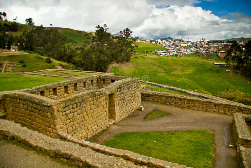 Rovine importanti di inca di Ingapirca nell'Ecuador immagine stock