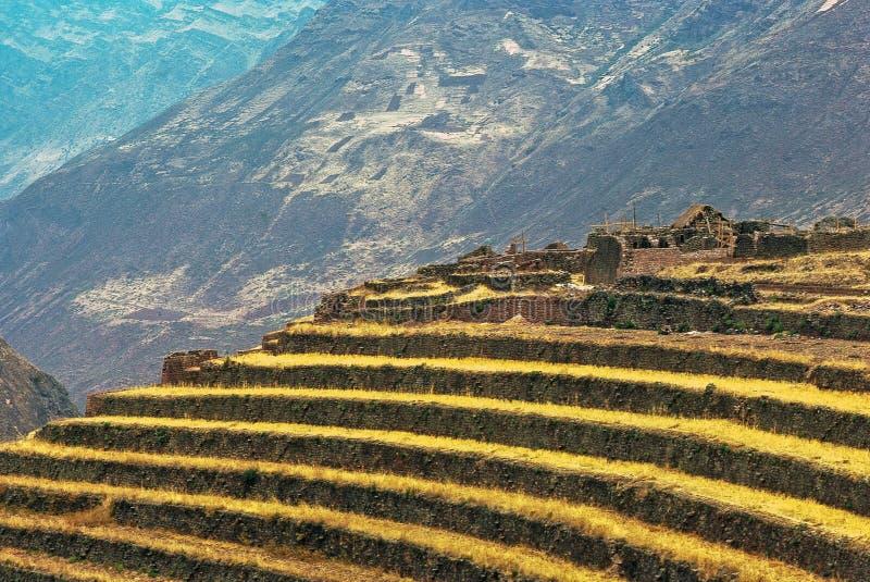Rovine Inca a Pisac, Perù fotografie stock