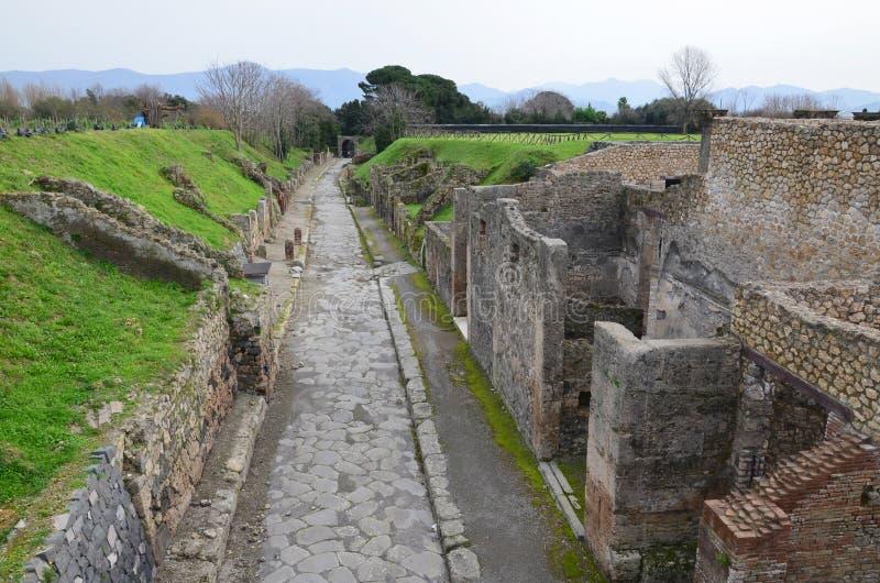 Rovine ristabilite della città antica Pompei immagine stock libera da diritti