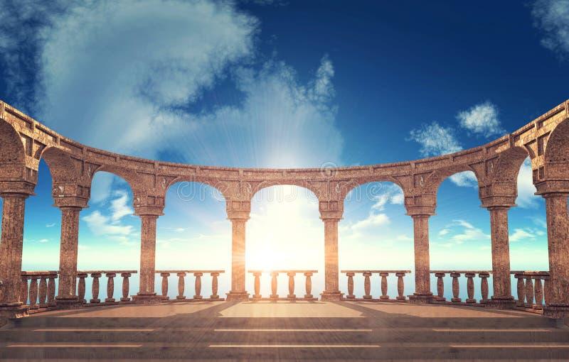 Rovine romane antiche della colonna nella disposizione ellittica royalty illustrazione gratis