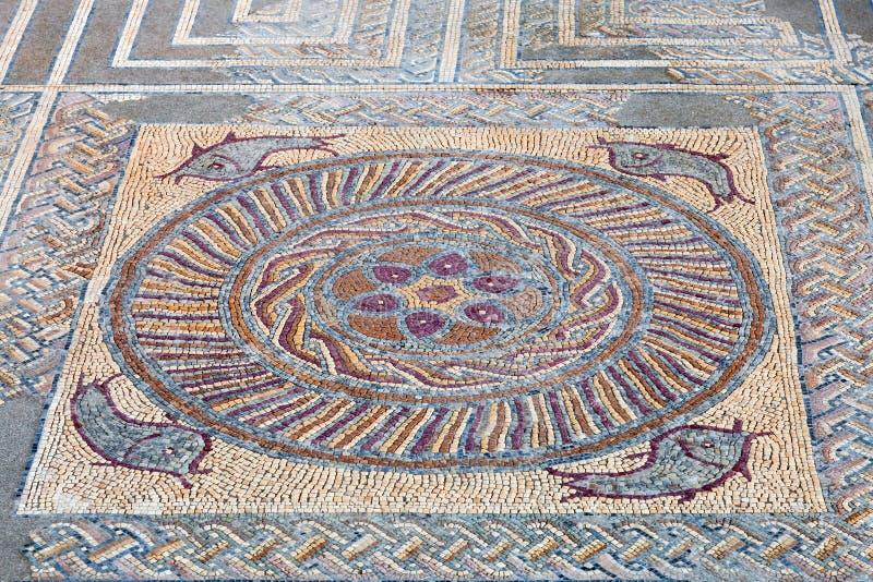 Rovine romane di Conimbriga Primo piano di una pavimentazione di mosaico romana decorativa di tessera fotografia stock libera da diritti