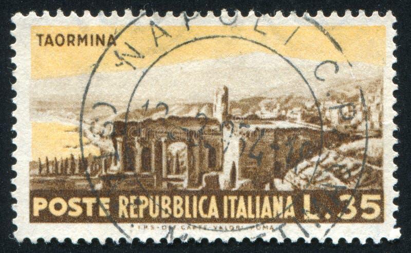 Rovine romane in Taormins immagini stock
