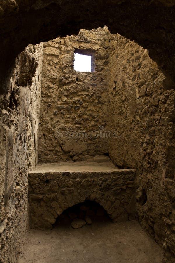Rovine scavate di una stufa di cucina a Pompei immagini stock libere da diritti