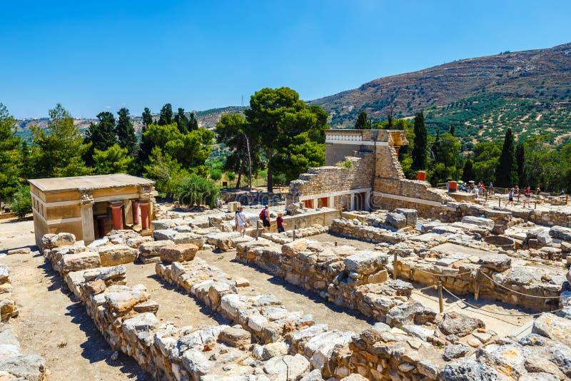 Rovine sceniche del palazzo di Minoan di Cnosso fotografie stock libere da diritti