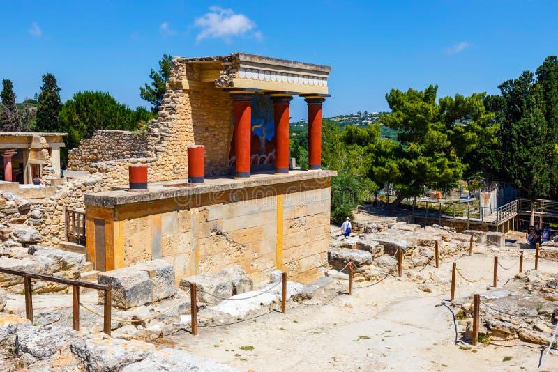Rovine sceniche del palazzo di Minoan di Cnosso fotografia stock