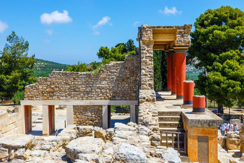 Rovine sceniche del palazzo di Minoan di Cnosso fotografia stock libera da diritti