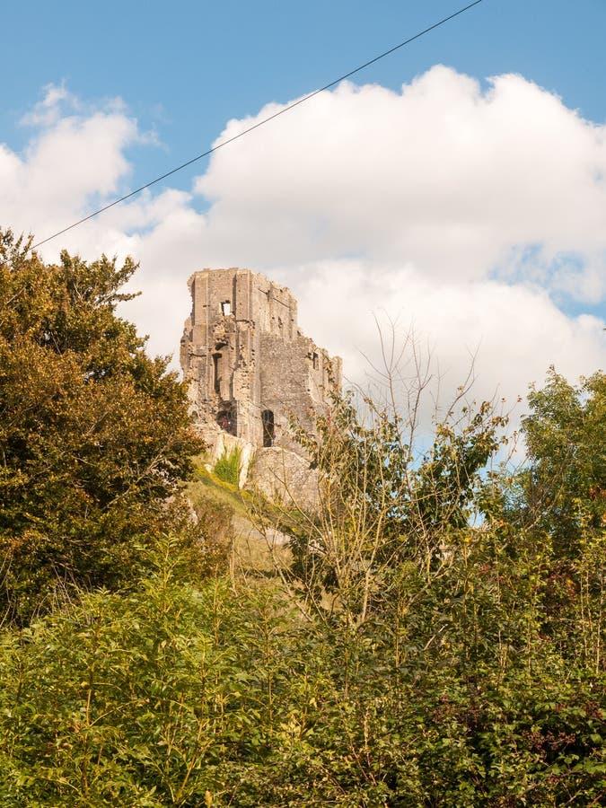 rovine speciali vecchia n medievale del castello del corfe del giorno dell'estate del paesaggio fotografia stock libera da diritti
