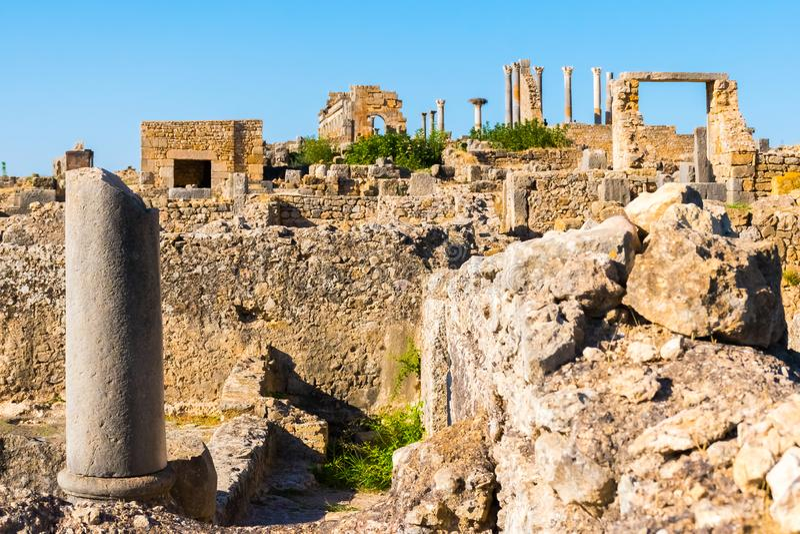 Rovine in vecchia città romana antica Volubilis, Unesco, Meknes, Marocco immagini stock libere da diritti