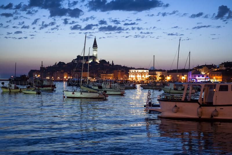 Rovinj σε Istria, Κροατία βράδυ στοκ φωτογραφία με δικαίωμα ελεύθερης χρήσης