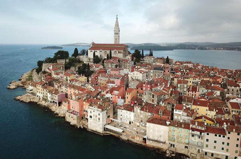 Rovinj from the air royalty free stock images