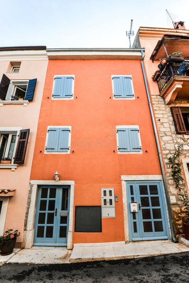 Rovinj - beautiful antique city. Cororful building facades in old town of Rovinj, Croatia royalty free stock image