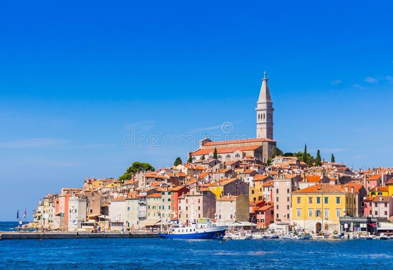 Rovinj, cidade velha bonita em Istria da Croácia, Europa foto de stock