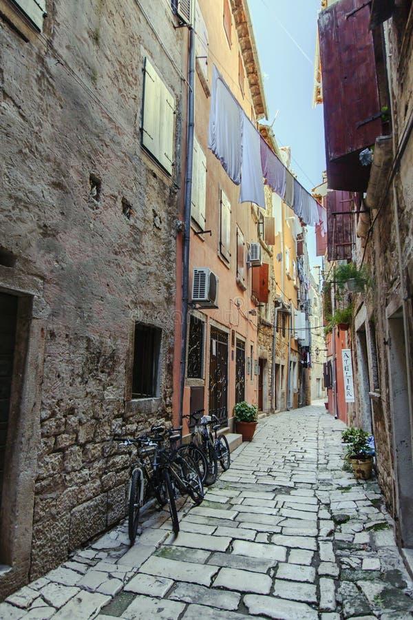 Rovinj, Croatia. A narrow street in the old city of Rovinj, Istria, Croatia stock image