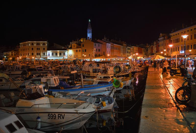 Rovinj at night. View of the port and colorful buildings in the old town, Istria, Croatia royalty free stock photos