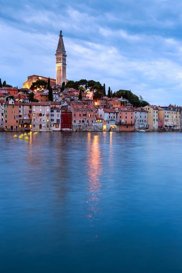 Rovinj gammal stad i Adriatiskt havkust av Kroatien fotografering för bildbyråer
